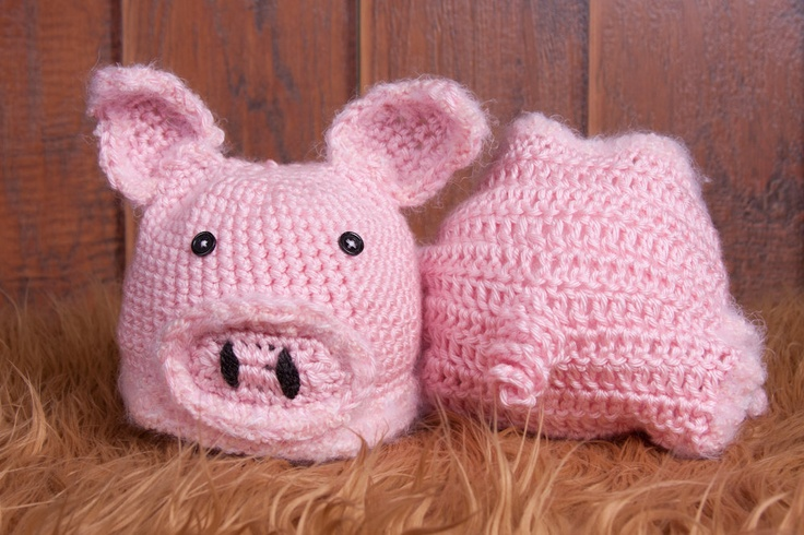 Crochet Pig Hat and Diaper Cover, Farm Animal Collection ...