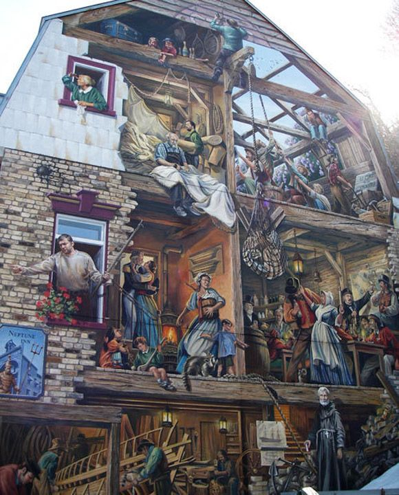 Mural on the side of a barn in Canada.  29da8197b218859a822032889dcd2a38