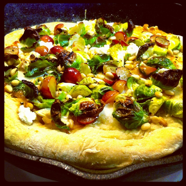 Pizza with roasted garlic + apricot sauce, brussels sprouts, goat ...