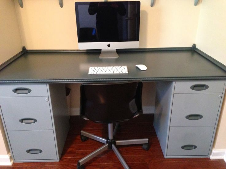 diy built in home office desk shelves using filing cabinets and mdf