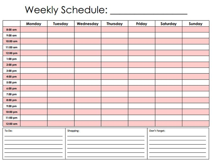 Daily Hourly Schedule Template - 24 hour 7 day work schedule template
