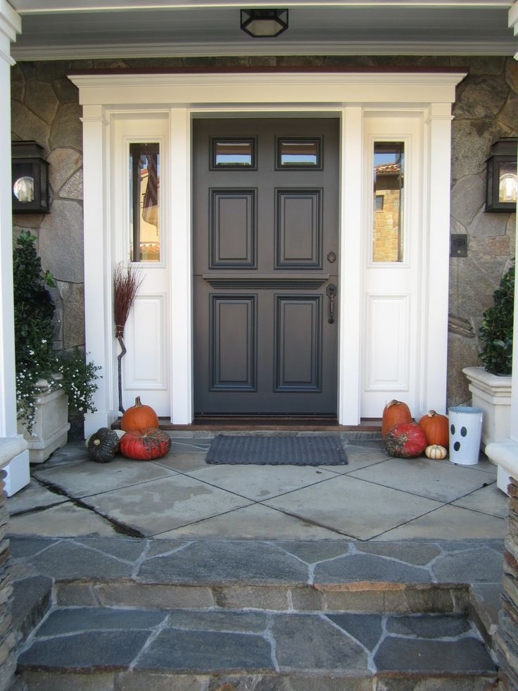 Sherwin williams iron ore front doors paint wall for Front entrance storm doors