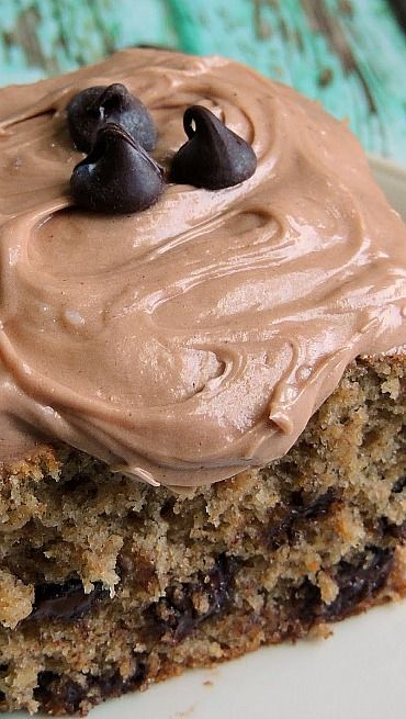 Banana Chocolate Chip Cake with Nutella Cream Cheese Frosting | Recipe