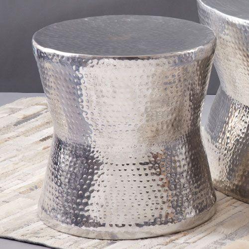 Hammered Metal Drum Table Silver Tam Tam Hammered Accent Table Tozai Home Drum Tables Accent ...