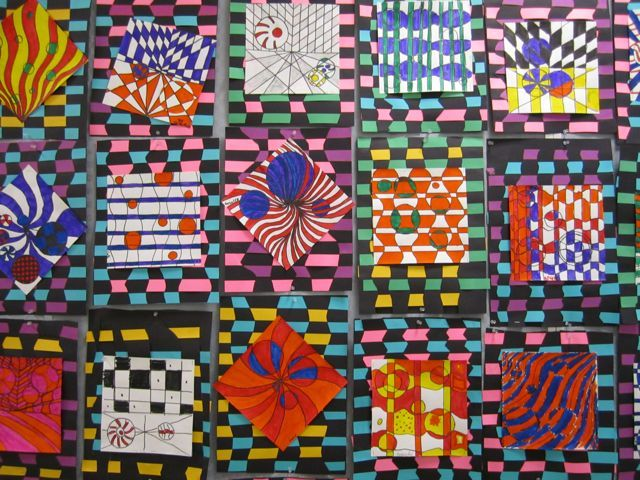 5th grade... Love Op Art and weaving in one! #lessonIdea #crafts #opArt
