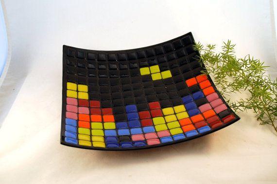 Large Fused Glass #Tetris Art Plate ($65)