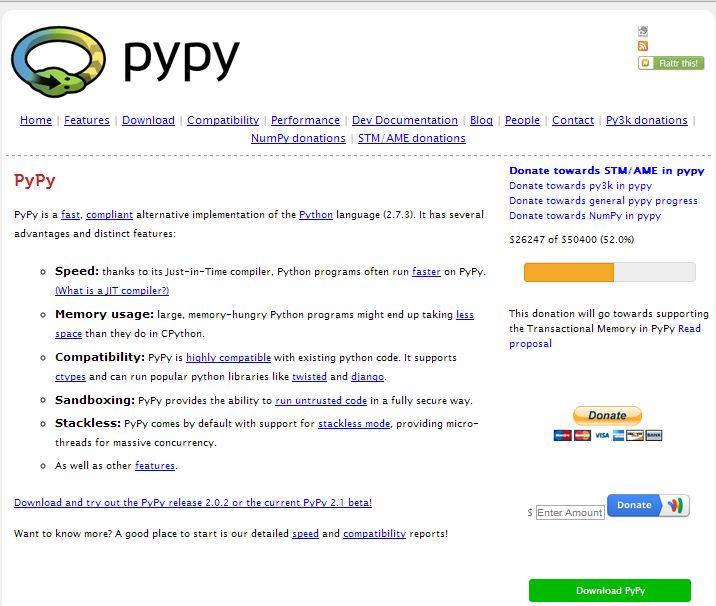 Pypy альтернатива мови python http pypy org