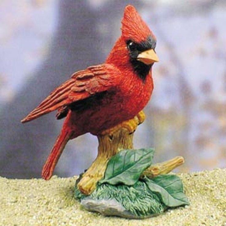 Cardinal Statue Figurine In Home Yard Garden Bird Decor