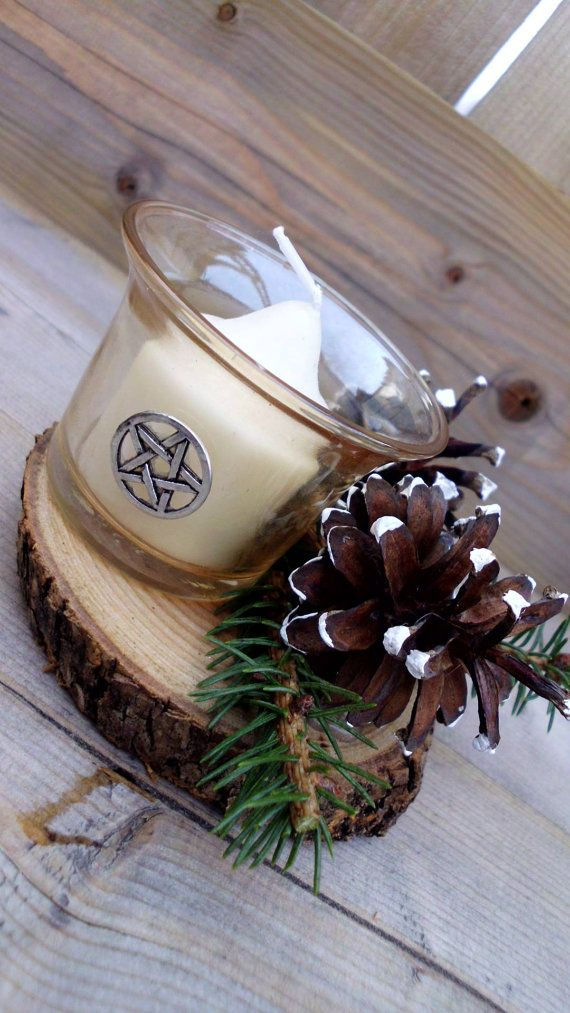 ✯ Yule Pinecone and Evergreen Candle Holder - Wicca - Witchcraft Christmas :: Etsy Shop WayOfTheCauldron ✯