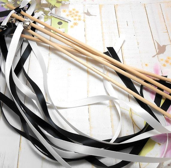 Black & White Wedding Ribbon Wands With Bells by SpiritualPathways, $ ...