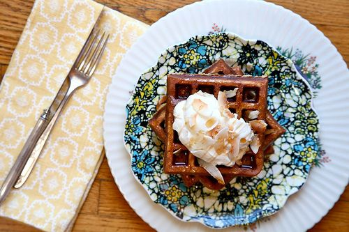 Gluten-free Toasted Coconut Waffles with maple cream