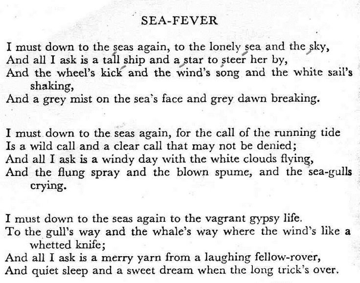 sea fever john masefield essay Read published articles, essays and exhibition reviews of his work  it is a ' revisitation' of the john masefield poem sea fever (1902) and john ireland's  classic.