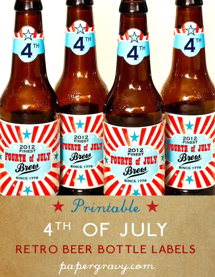 PRINTABLE USA Beer bottle LABELS 4th of July decorations