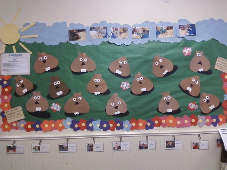 Groundhog Day bulletin board.  #Childtime #Groundhog #Bulletin board #DOL