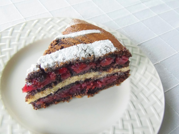 Sour cherry- poppy seeds cake from Hungary Meggyes máktorta