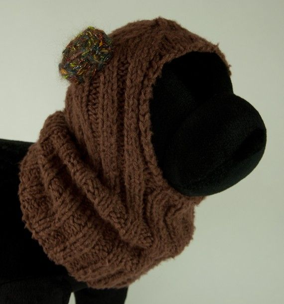 Knitting Pattern Hat With Dog Ears : Brown Bamboo Spun Knit Dog Hat with ear muffs