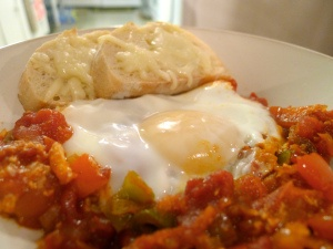Shakshouka (Israeli Eggs with Tomatoes and Peppers)