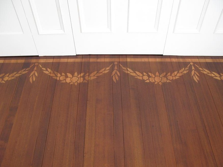 Wood floor with stenciled border home design pinterest for Hardwood floor designs borders