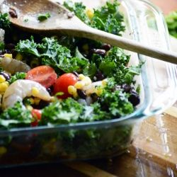 ... : Clean burrito bowls made with kale, avocados, black beans, and corn