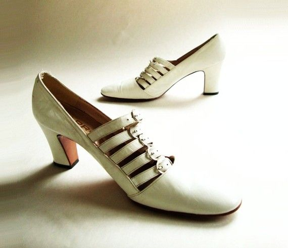 1960s Vintage Shoes / 60s Vintage Buckled White by starletvintage