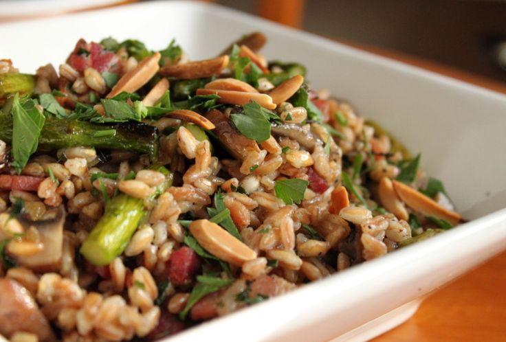 Farro with mushrooms, bacon & asparagus | Rice & Beans. | Pinterest
