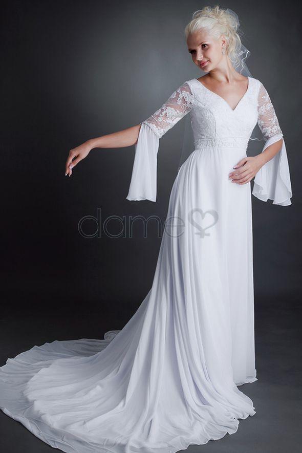 ... Ausschnitt halbe Ärmel Chiffon A Linie bodenlanges Brautkleid