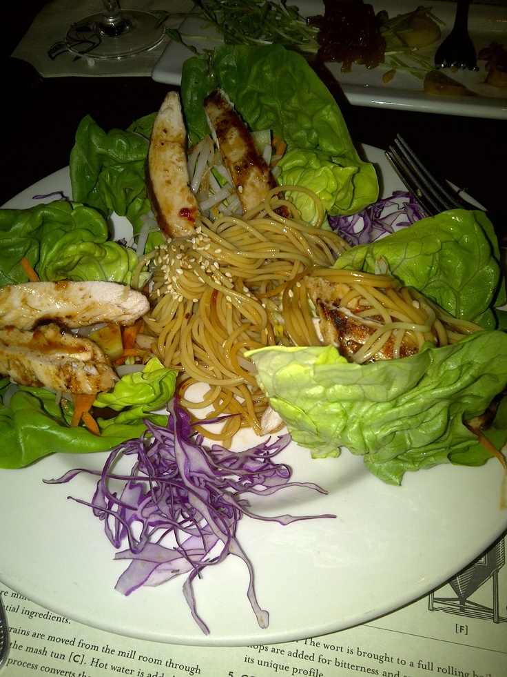 teriyaki chicken lettuce wraps with japanese soba noodles....mmmm