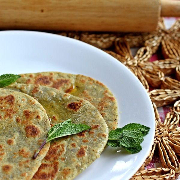 Mint Parathas – Pan Crisped Whole Wheat Flatbreads with Mint