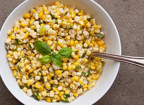 Fresh Corn Salad with Scallions and Basil | Recipe