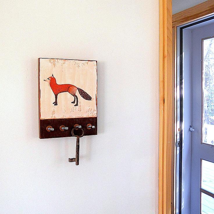 Cottage Key Holder Hooks Fox Wall Mount Red Black Folk