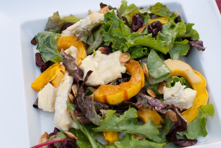 Fall Salad with Delicata Squash, Cranberries, Brie & Ginger Maple Dre ...