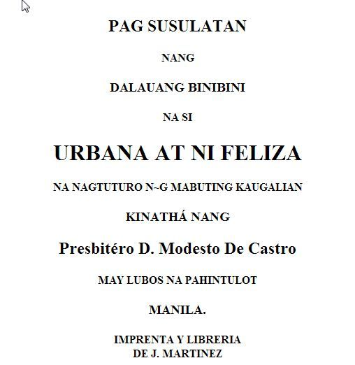 urbana at feliza Letters between two women on ethics and proper conduct of life.