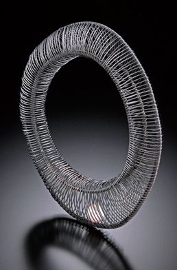 kathy frey: sculptural wire jewelry - Floating Pearl Bangle