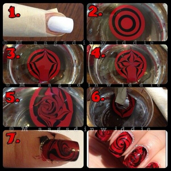 Rose swirl manicure using water nail art | All the Nails | Pinterest
