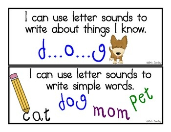Common Core Writing Standards: I Can Statements for Kindergarten