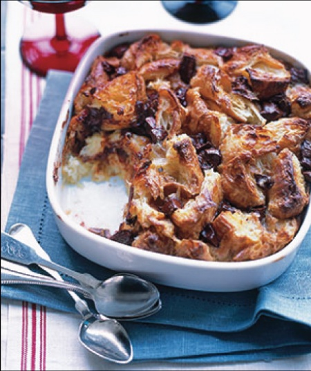 chocolate croissant bread pudding... I would replace the chocloate ...