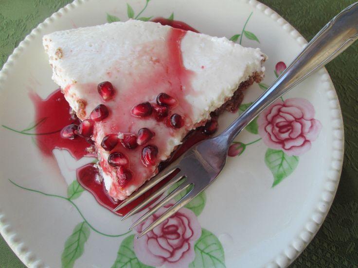 Greek yogurt cheescake with pomegranate syrup