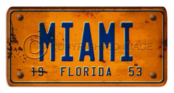 Custom Vintage License Plate Sign Florida Custom Vintage Signs