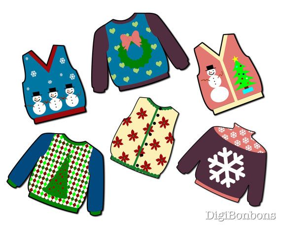 Ugly Christmas Sweater Digital Clip Art clipart by DigiBonBons   5 00Ugly Christmas Sweaters Clipart
