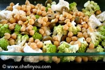 Roasted Broccoli Cauliflower with Chickpeas and olives