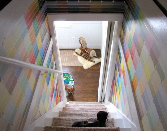 A use for the 3,982 paint chips I have. @Claire Doody don't you have the perfect staircase for something like this? :)