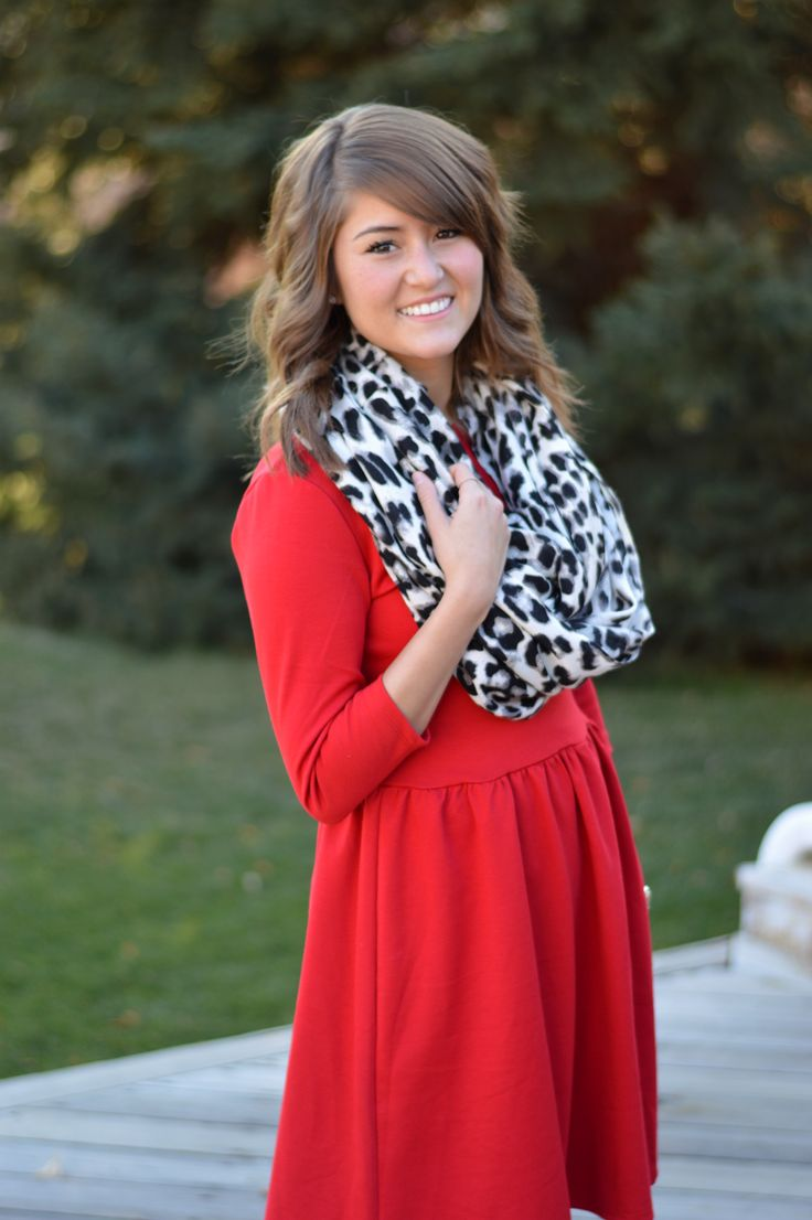 red dress, leopard scarf