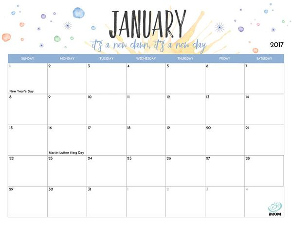 January 2018 Calendar Printable Tumblr | Printable Editable Blank