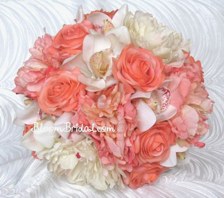 Peach Coral & Cream Orchids, Roses, and Peonies bouquet