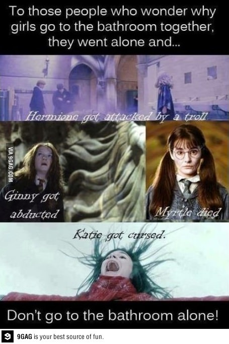 Why Girls Go To The Bathroom Together Funny Pinterest
