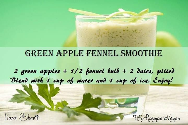 Green Apple Fennel Smoothie | Vegan meals | Pinterest