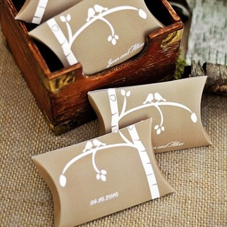 Rustic Love Bird Personalized Favor Box Set Of 50