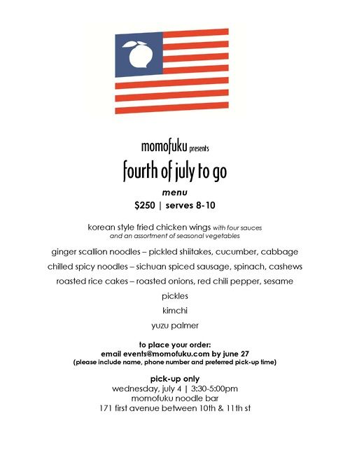 menu for july 4th