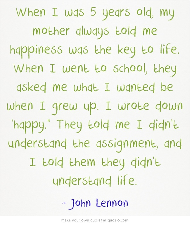 John Lennon Quote When I Was Five
