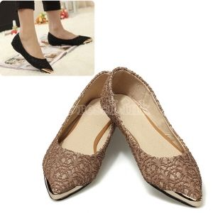 Korean Fashion Women's Casual Lace Flats Pointed Toe Shoes Black